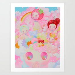 'Pep Talk', Cute pink rainbow art  Kunstdrucke