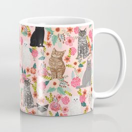 Cat floral mixed breeds of cats gifts for pet lovers cat ladies florals Coffee Mug