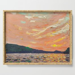 Tom Thomson - Smoke Lake - Canada, Canadian Oil Painting - Group of Seven Serving Tray