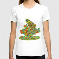 trout T-shirts featuring Psychedelic Rainbow Trout by Rebecca Wang