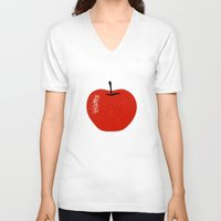 apple V-neck T-shirts featuring Apple by Roland Lefox