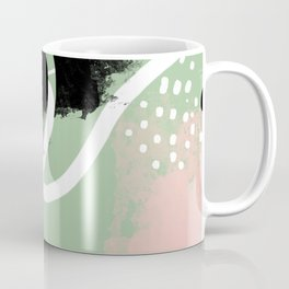 Mint and Black abstract-dots and lines pink mint black white dots abstract dots line abstract pink Coffee Mug