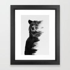 Observing Bear Framed Art Print