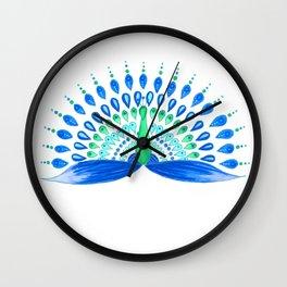 Blue and green mandala peacock Wall Clock