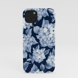 Hydrangea Blue on Blue Larger Pattern iPhone Case