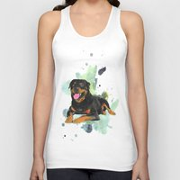 rottweiler Tank Tops featuring Rottweiler happy by Cami Landia
