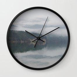 CALM MISTY MORNING ON CRESCENT BEACH ORCAS ISLAND Wall Clock