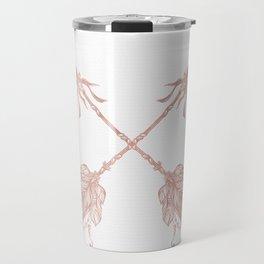 Tribal Arrows Rose Gold on White Travel Mug