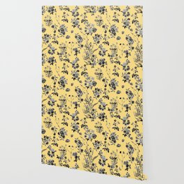Black and White Floral on Yellow Wallpaper