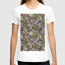 Seamless abstract hand-drawn flowers texture, leaves pattern, Doodle background.  T-shirt