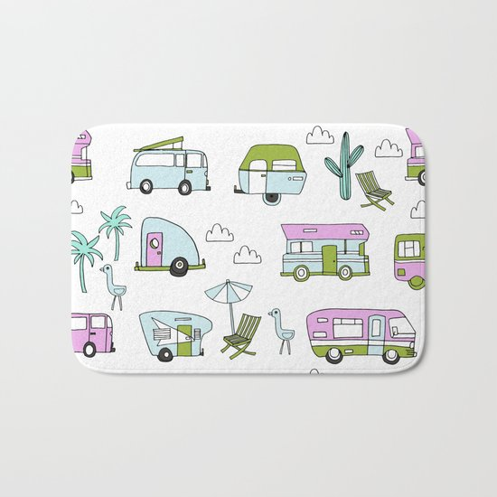 Camper Summer Vacation Tropical Pattern Rv Van Life Print