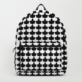 Black and White Scallop Repeat Pattern Backpack