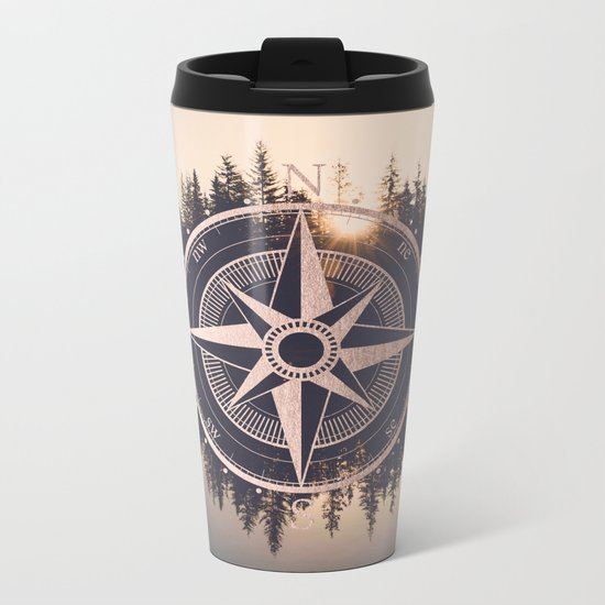 Rose Gold Compass Forest Metal Travel Mug