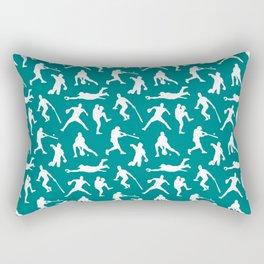 Baseball Players // Teal Rectangular Pillow