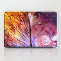 fibonacci iPad Cases featuring SHELTERED - Conceptual Composing with shell, leaf and waterdrops by VIAINA