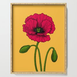 Red poppy drawing Serving Tray