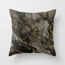 Midnight Gold - Abstract Ink Painting Throw Pillow
