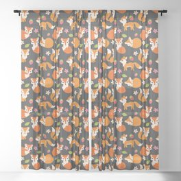 Cute Fox Illustration with Strawberries and Flowers Sheer Curtain