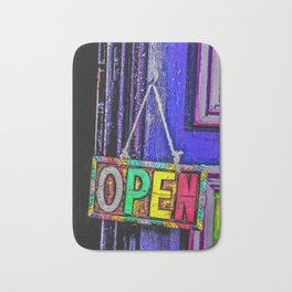 Psychedelic Open Sign Bath Mat