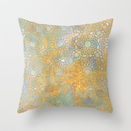 gold arabesque vintage geometric pattern Throw Pillow