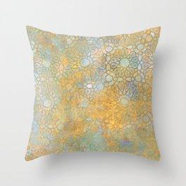 gold arabesque vintage geometric pattern Throw Pillow