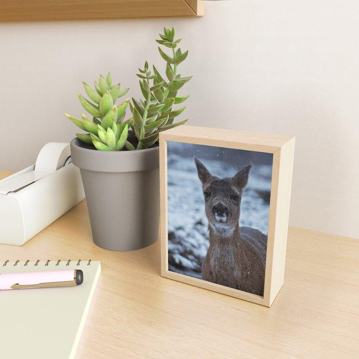 Deer in Snow Framed Mini Art Print
