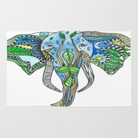 tatoo Area & Throw Rugs featuring Tatoo Elephant by PepperDsArt