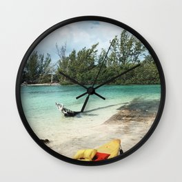 Kayaking in Paradise Wall Clock