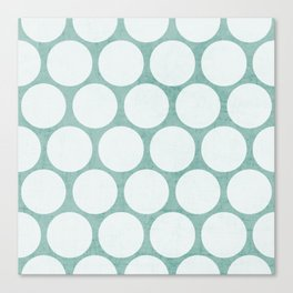 robins egg blue and white polka dots Canvas Print