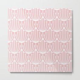 Retro Art, Floral Prints, Pink and White, Line Art Metal Print