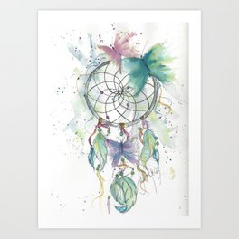 Dream catcher in blue Art Print