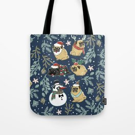 Christmas Pugs Tote Bag