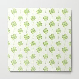 Four Leaf Clover Lucky Charm Pattern Watercolor Metal Print