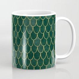 Mermaid Fin Pattern // Emerald Green Gold Glittery Scale Watercolor Bedspread Home Decor Coffee Mug