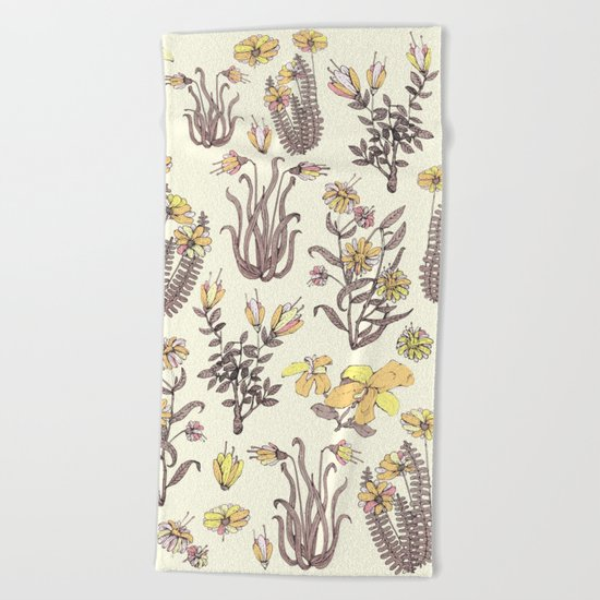 yellow garden Beach Towel