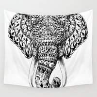 ganesh Wall Tapestries featuring Ornate Elephant Head by BIOWORKZ