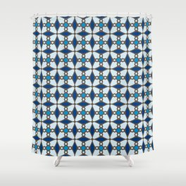 Blue Stained Glass Shower Curtain
