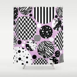 Eclectic Black And White Circles On Pastel Pink Shower Curtain