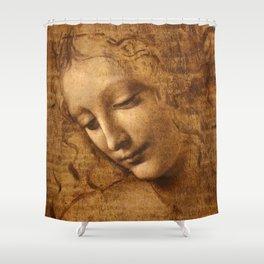 Head of a Woman Painting by Leonardo da Vinci Shower Curtain