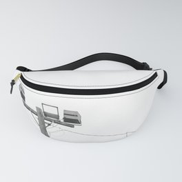 Travel photography street lamp at night black & white Fanny Pack
