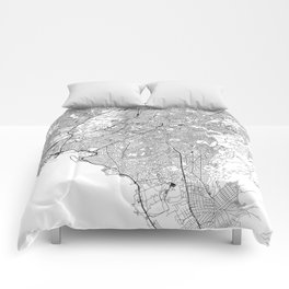Athens White Map Comforters