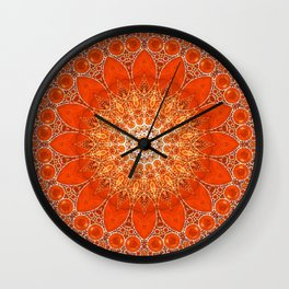 Detailed Orange Boho Mandala Wall Clock
