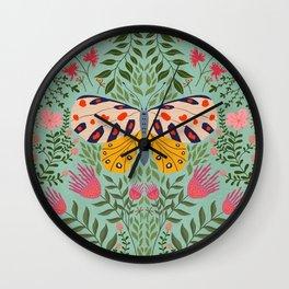 Butterfly in The Garden 02 Wall Clock