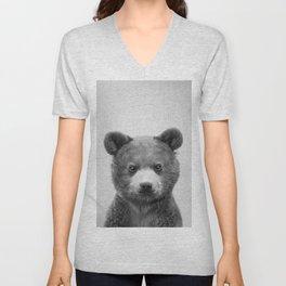 Baby Bear - Black & White Unisex V-Neck
