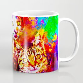 cat trio splatter watercolor colorful background Coffee Mug