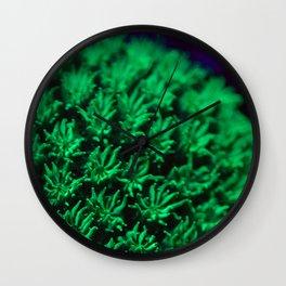 Fluorescent coral polyps reaching toward infinity Wall Clock