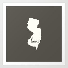 New Jersey is Home - White on Charcoal Art Print