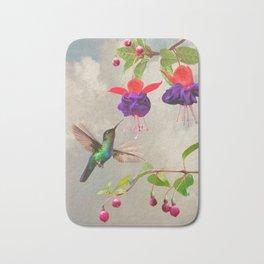 Fuchsia and Hummingbird Bath Mat