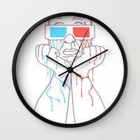 hitchcock Wall Clocks featuring Hitchcock 3D by gotoup
