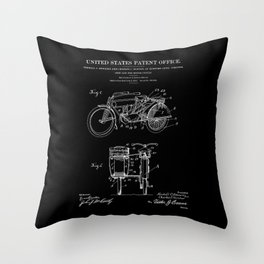 Motorcycle Sidecar Patent 1912 - Black Throw Pillow